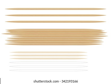 Several photorealistic toothpicks. On the topic of hygiene and health. Isolated on white background. Exploitable for printing design.