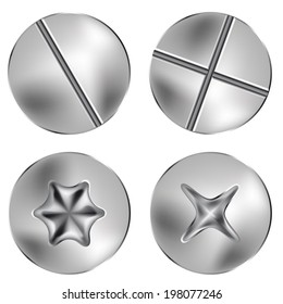 several screw and thumbtack heads, vector illustration