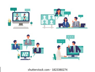 Several situations of telecommuting work in the new normal lifestyles. Flat design vector illustration of teleworking people. Concept for teleworking.