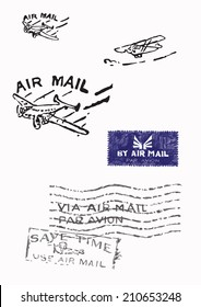Several stamps of old air mail (Original - no scans - hand drawn). Hand drawn vector illustrations.