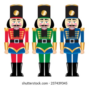 Several toy nutcracker soldiers made of wood