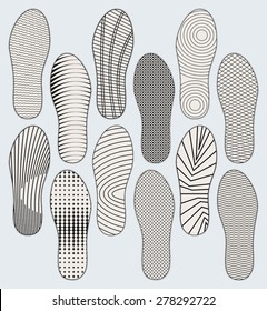 Several variants of vector patterns of shoe soles