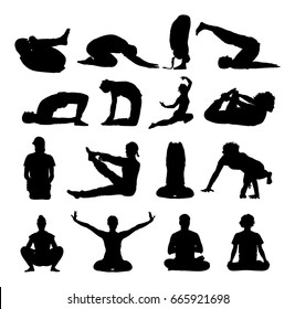 Several yoga poses vector silhouette illustration isolated on white background. Young woman and man exercises yoga. Zen, mantra, wellness.