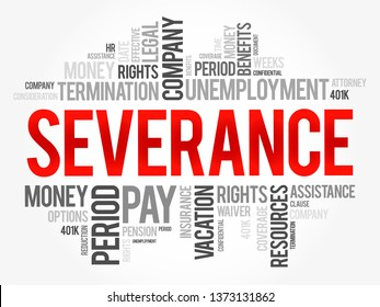 Severance word cloud collage , social concept background