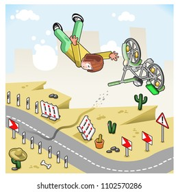 Severe bicycle accident, man losing his way on curvy moUntain road and falling into a gorge, vector cartoon in isometric view