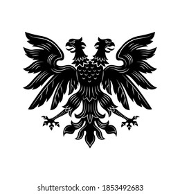 Severe double eagle vector illustration. Imperial heraldry, two headed hawk, open wings and beaks. Monarchy or nobility concept for royal insignia or heraldic badge templates