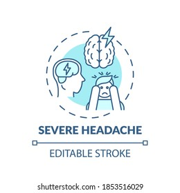 Severe headache turquoise concept icon. Migraine pain. Suffer from tension in head. Brain health idea thin line illustration. Vector isolated outline RGB color drawing. Editable stroke