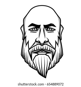 Severe looking bald man with mustache and beard