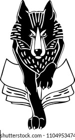 Severe wolf with paw on the book exlibris stamp vector
