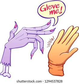 "Severed witch's hand intimidating a yellow glove. The scared glove tries to stop the hand. The purple hand says ""Glove me!"" in a speech balloon making a pun on the words ""glove"" and ""love"""