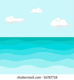 seview background with waves & clouds