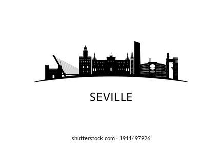 Seville city skyline. Black cityscape isolated on white background. Vector banner.