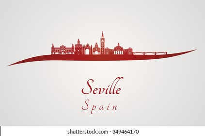 Seville skyline in red and gray background in editable vector file