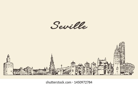 Seville skyline, Spain, hand drawn vector illustration, sketch
