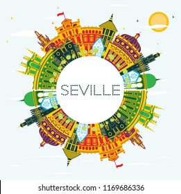 Seville Spain City Skyline with Color Buildings, Blue Sky and Copy Space. Vector Illustration. Business Travel and Tourism Concept with Historic Buildings. Seville Cityscape with Landmarks.