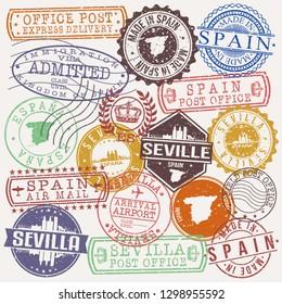 Seville Spain. Stamp. Vector Art. Postal Passport. Travel Design Set. Postage.