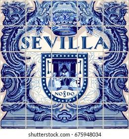 Seville Spanish ceramic tiles Spain symbol vector lapis blue illustration