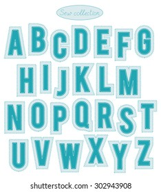 sew collection - hand made light and bright turquoise stitch letters