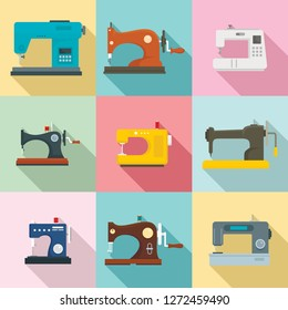 Sew machine icon set. Flat set of sew machine vector icons for web design
