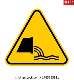 Sewage effluent outfall sign. Vector illustration of yellow triangle warning sign with sewer pipe icon inside. Flow of discharged water and unhygienic material. Safety symbol. Caution.