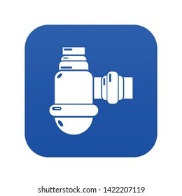 Sewage siphon icon blue vector isolated on white background