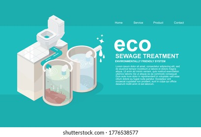 sewage system toilet bowl tank and sewer treatment plant for smart house save the environment isometric designed ecology concept website template
