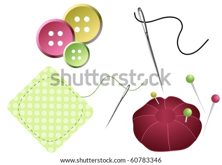 Sewing Accessories Needles Pins Buttons Pin Stock Vector (Royalty