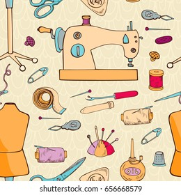 SEWING ACCESSORIES SEAMLESS PATTERN.  Illustration can be use for card,coloring book, invitations, decorating websites and for the realization of other design ideas.