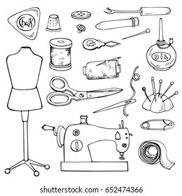 SEWING ACCESSORIES. Set of vector tailor icons isolated on white, design element.Page for coloring book
