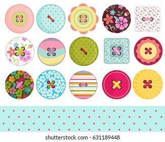 Sewing Buttons and Polka Dots Digital Paper