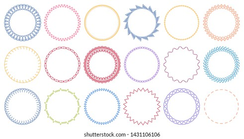 Sewing circle frames. Embroidered borders, stitched round frame and sew seams border pattern. Circle napkin crochet frames, victorian sewing ring. Isolated vector illustration symbols set