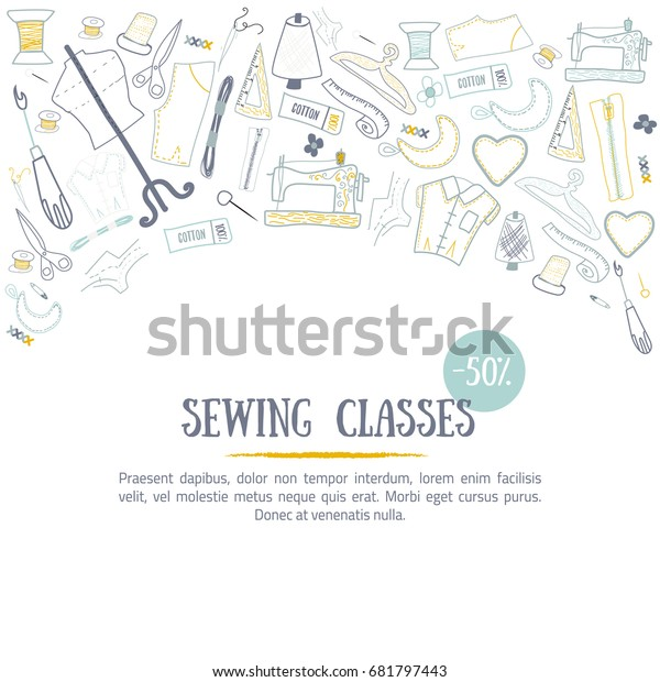 Sewing Classes Banner Design Needle Craft Stock Vector
