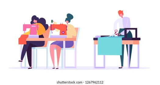 Sewing Clothes Character Flat Vector Drawing. Seamstress Woman Working with Thread Machine and Ironing Cloth. Handmade Fashion Manufacturing Worker Set Cartoon Illustration