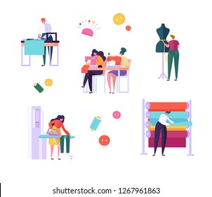 Sewing Clothes Character People Set. Woman Work at Dressmaker Knitting Machine, Ironing Fabric in Creative Atelier. Tailor Textile Craft Business Isolated Collection Flat Vector Cartoon Illustration
