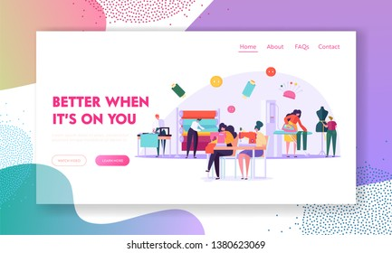 Sewing Clothes Textile Factory. Seamstress Characters Work with Thread Machine in Fashion Atelier. Cloth Manufacturing Workers Website Landing Page, Web Page Cartoon Flat Vector Illustration, Banner