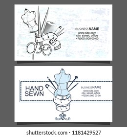 Sewing and cutting of business card concept