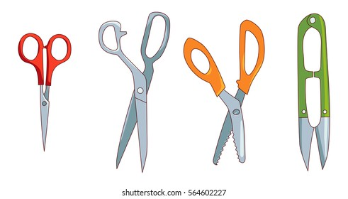 Sewing cutting tools set isolated on white background, Fabric shears, small embroidery scissors, pinking shears,thread-clipper, vector icon