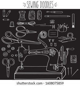 Sewing Doodles, Singer Machine, Needle, White Outline, freehand, Thread spools, Fabric Scissors, buttons, bobbins, chalk, pencil, measuring tape, thimble, safety pins, fashion, seamstress, tailoring