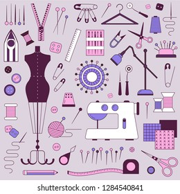 Sewing and dressmaking equipment and handcraft supplies elements set. Tailor needlework accessories with mannequin, spool of thread, needle, scissors, fabric, pincushion with pins, sewing machine.