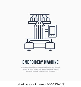 Sewing embroidery machine flat line icon, logo. Vector illustration of tailor supplies for hand made shop or dressmaking service.