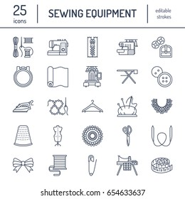 Sewing equipment, tailor supplies flat line icons set. Needlework accessories - embroidery machine, pin, needle, thread, zipper, hanger and other DIY tools.