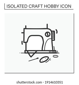 Sewing hand draw icon.Vintage sewing machine.Handmade fashion activity. Relaxed hobby concept. Isolated sketch vector illustration
