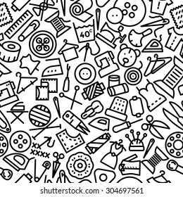 Sewing Hand Drawn Icon Pattern Background