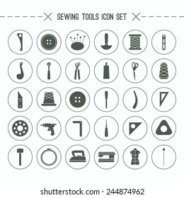 Sewing and hobby tools icons set. Black icons in a flat style on a white background