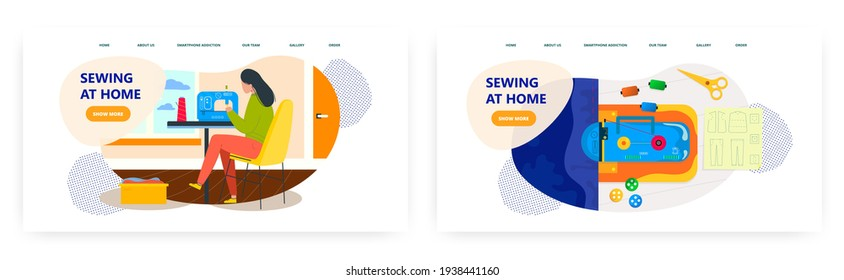 Sewing at home landing page design, website banner vector template set.