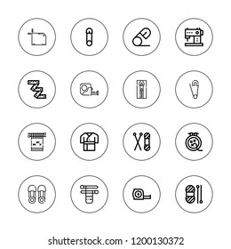 Sewing icon set. collection of 16 outline sewing icons with artboard, knit, knitting, measuring tape, robe, safety pin, tape, wool, sewing machine icons.