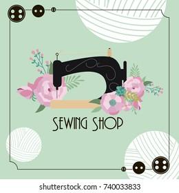 Sewing Illustration. Vintage style. Retro sketch background. Vector illustration
