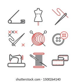 Sewing infographics, Tailoring line icons. Vector signs for web graphics.