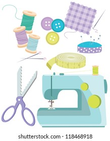 Sewing Items Various haberdashery items, including sewing machine,thread,needles,scissors,tape measure,buttons, fabric, pins