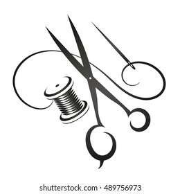 Sewing kit silhouette simple vector